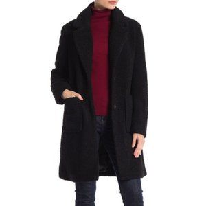 NWT French Connection Faux Shearling Black Coat